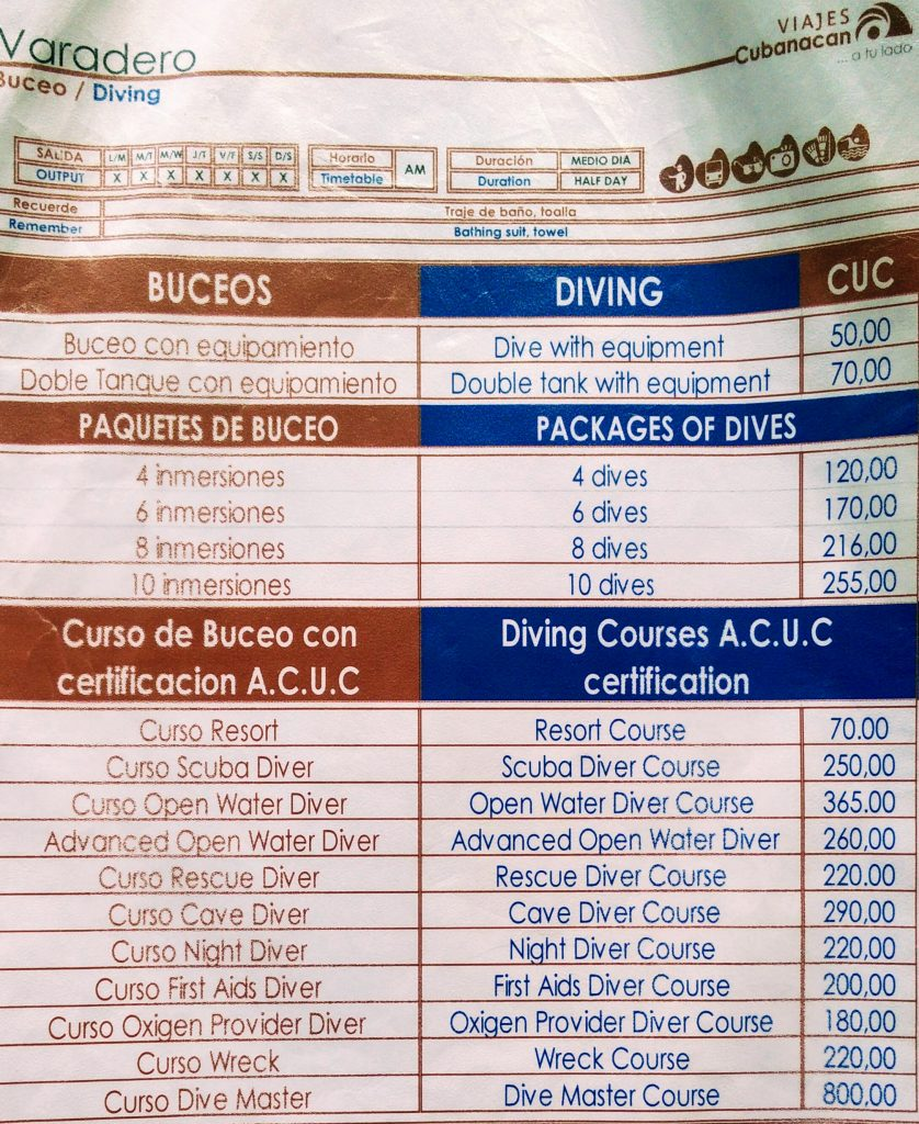 Prices Scuba Diving Varadero